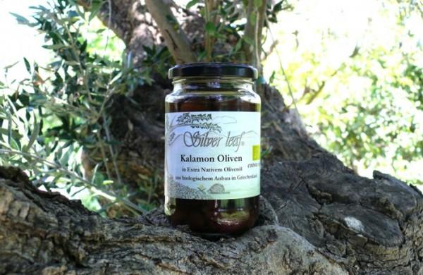 Kalamon Bio Oliven in Extra Nativem Olivenöl ohne Stein, 300 g