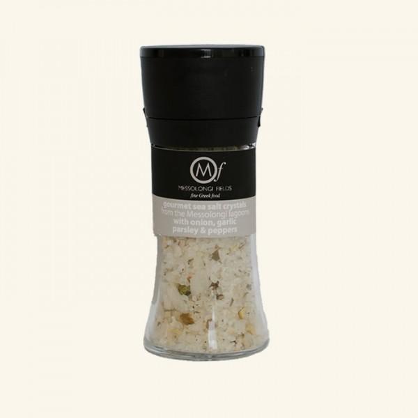 Messolongi Meersalz mit Knobi und Pfeffer, 95g Salzmühle