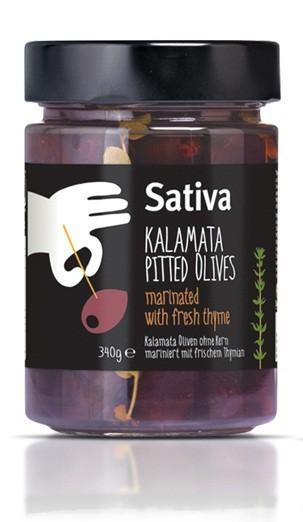 Kalamata Oliven entsteint, mariniert mit frischem Tymianzweig, 340 g