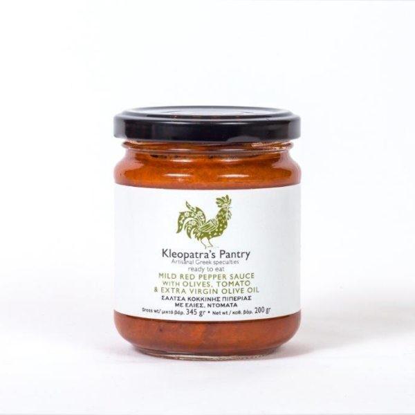 Rote Paprika Sauce mit Oliven und Tomaten, 200 g