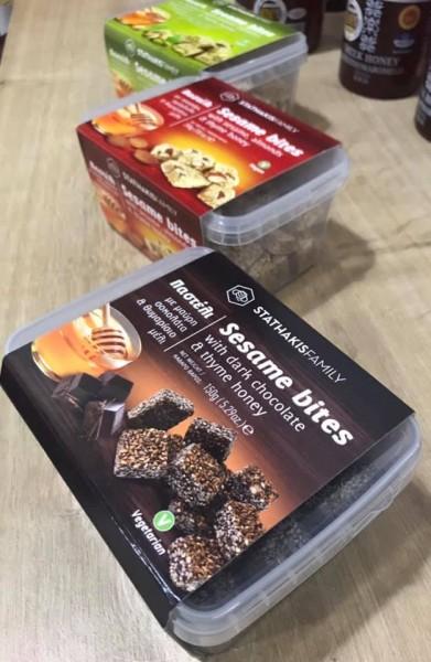 """""""Pasteli"""" Sesam Happen mit Dunkelschokolade und Thymianhonig, 200 g"""