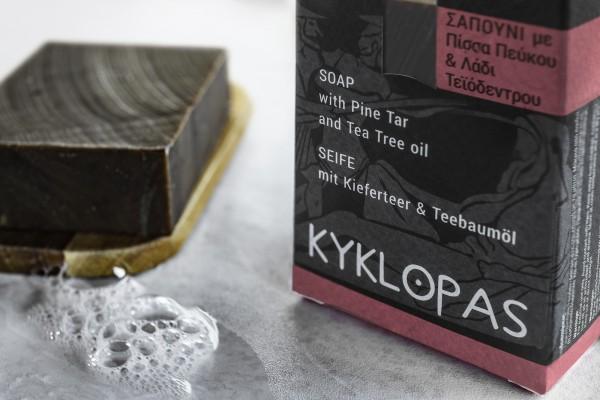 Handgemachte Olivenölseife mit Kiefertee und Teebaumöl, 120 g
