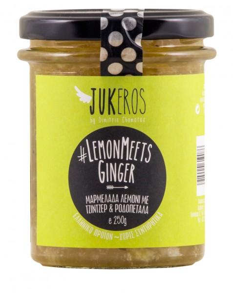 Lemon meets Ginger, Zitronenmarmelade mit karamellisiertem Ingwer und Rosenblättern, 250 g