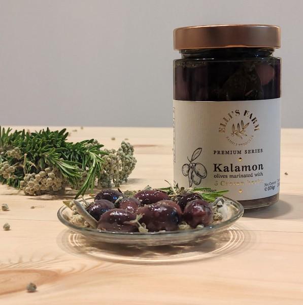 Kalamon Premium Oliven mit 6 kretischen Kräutern mariniert, 376 g