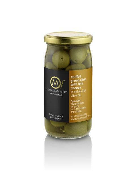 Grüne Oliven mit Feta Käse gefüllt in Olivenöl, 350 g
