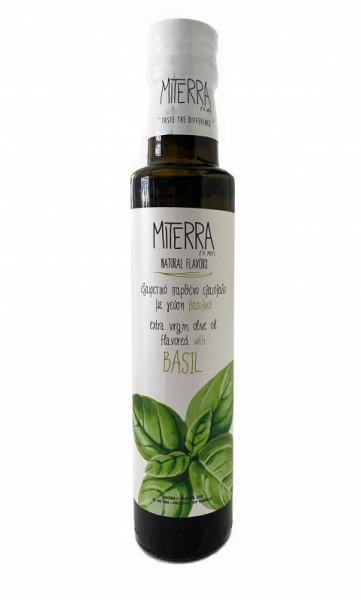 """""""Miterra"""" Premium Basilikum-Olivenöl aus Kreta Koroneiki, 250 ml"""