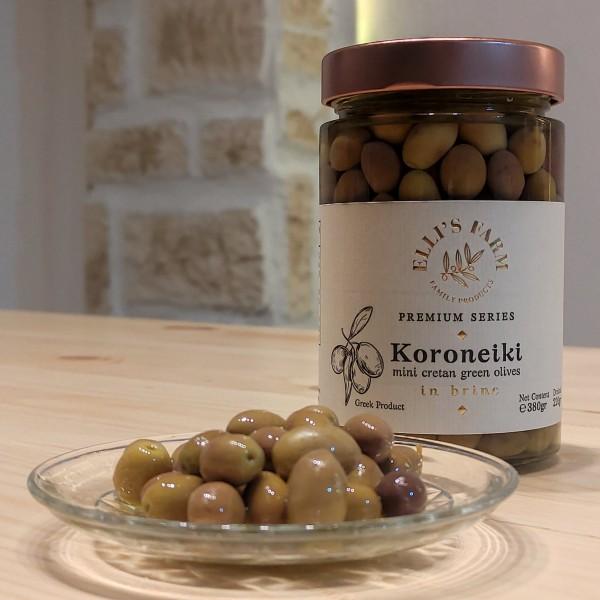 Koroneiki Mini Cretan Grüne Oliven Premium Qualität, 380 g