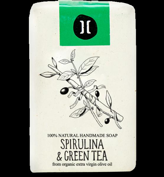 Bio Olivenölseife aus Kreta mit Spirulina & Grüntee, 120 g